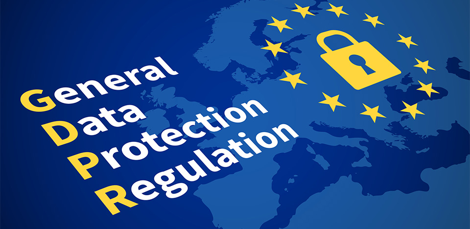 Gdpr general data protection regulation. Eu computer safeguard regulations and data encryption vector concept. Illustration of control access, encryption legislation and protect privacy