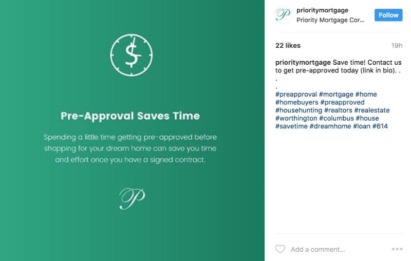 Priority Mortgage Instagram sample.