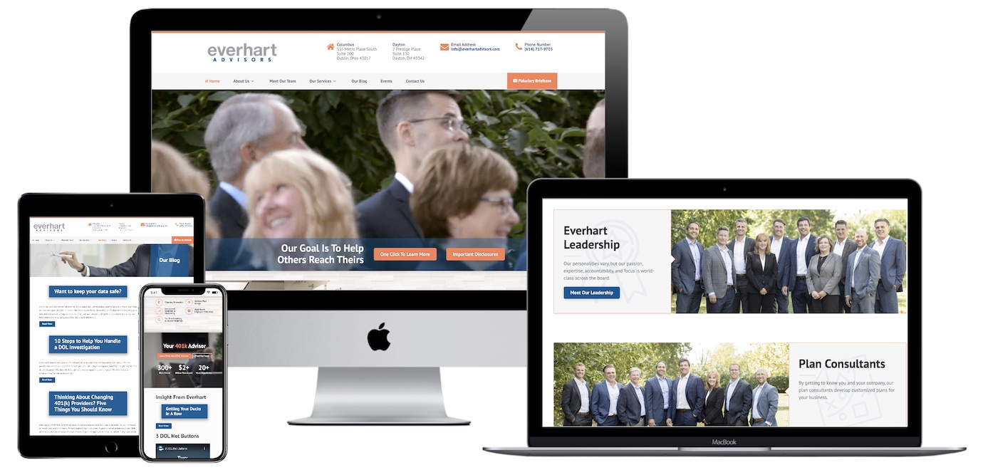 Everhart Advisors website design and development project.