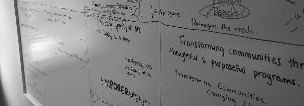 MJ2 Marketing whiteboard full of notes.