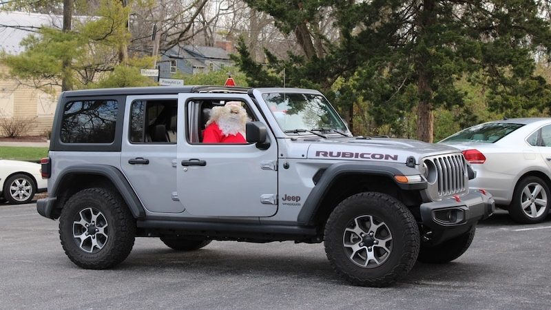 MJ2 Santa in a Jeep, showing kindness by visiting children.