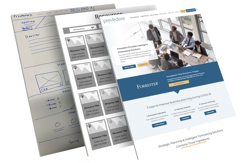Prevedere website design and development project stages.