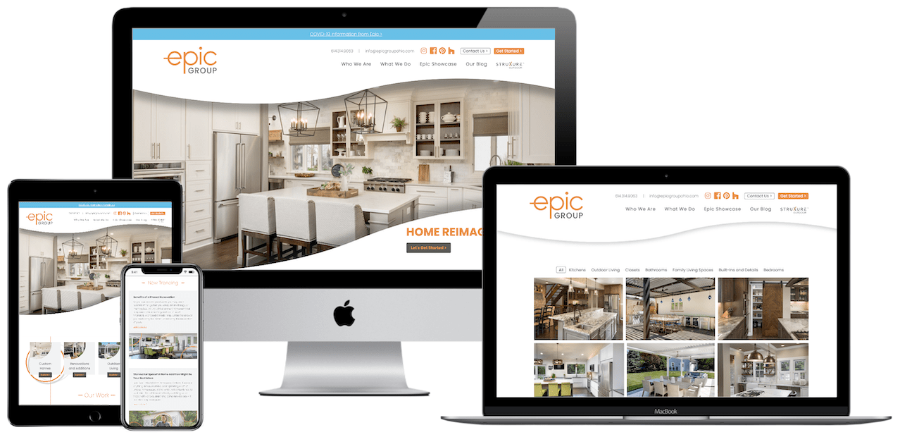 Epic Group website design and development project.